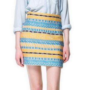Zara Aztec Jacquard Mini Skirt